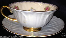SHELLEY ENGLAND FINE BONE 13528 CUP & SAUCER ROSE PANSY FORGET-ME-NOT GOLD TRIM