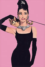 AUDREY HEPBURN POSTER Pink Breakfast at Tiffanys movie art print cat cigarette