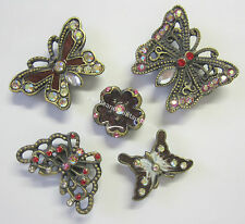4 Butterfly & Flower Fridge Magnet Decorations Diamontes Bling Magnets