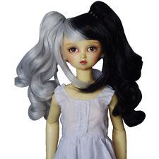 """[wamami] 97# White&Black Wavy Wig For 1/4 MSD AOD DOD DZ BJD Dollfie 7""""-8"""""""