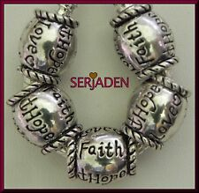 5 FAITH HOPE LOVE Antique Silver Spacer fit Serjaden European Style Jewelry S164
