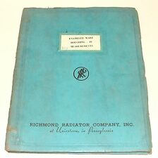 ORIG 1937 RICHMOND RADIATOR CO ENAMELED WARE FIXTURE CATALOG WITH ROUGH-INS TUB