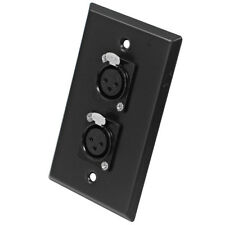 Seismic Audio - Black Stainless Steel Wall Plate - Dual XLR Female Connectors