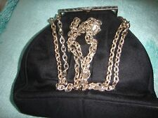 VINTAGE BLACK FABRIC MEDIUM SIZE EVENING BAG DOUBLED GOLD CHAIN STRAP.