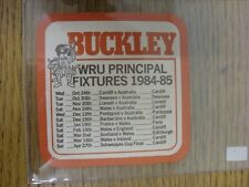 1984/1985 Rugby Union: Buckley Beer Mat - 'Buckley First Round Here', On Reverse