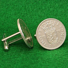 Scottish Crest Shilling Coin Cufflinks, Crown of Scotland QE2 Great Britain