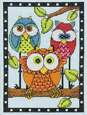 Cross Stitch Mini Kit ~ Dimensions Mom, Dad & Baby Owl Trio #70-65159
