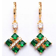 Four Green Square White Round Cubic Zircon Gold Plated Girl Gift Drop Earrings