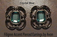 Chrismas Crystal Blue Filigree Accent Earrings Vintage Pierced Avon Silver tone