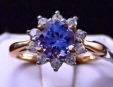 REDUCED! 1.73ct Genuine AA Tanzanite Solitaire w/Zircon Halo in 10k Gold, Size 5