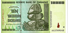ZIMBABWE10 TRILLION DOLLARS NOTE 2008 CURRENCY NOTE UNC AA PREFIX