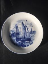 Bareuther Bavaria Waldsassen Germany Blue Ship Small Plate Trinket Dish