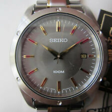 SEIKO MEN'S WATCH QUARTZ ALL STAINLESS S TWO TONE ORIGINAL JAPAN SGEF85 NEW
