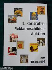 EMAIL panneaux vente aux enchères catalogue 3. Karlsruhe publicité vente aux enchères 10.10.1998