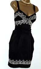 BNWT Stunning New Lipsy Black Gold Cream Lace Appliqué Size 12 Party Dress