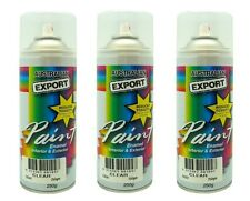3 x Australian Export Spray Paint Cans 250gm Clear 100% Brand New
