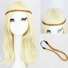 New Lady's Long Curly Braided Headband Hair Cosplay Party Hair Extensions Yellow