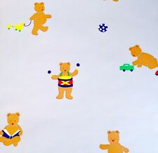 Village Wallpaper Kid Room Nursery Teddy Bear Blue Prepasted Vinyl lot 5 Double