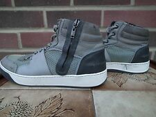 MEN LANVIN HI TOP TEXTURED GREY SIZE 9 SNEAKERS TRAINERS 100% AUTHENTIC DESIGNER