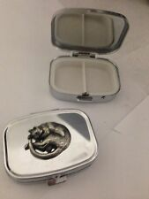 Sleeping Cat R213 English Pewter Emblem on a Rectangular Travel Metal Pill Box