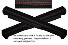 RED STITCH 2X DOOR SILL LEATHER COVERS FITS FIAT GRANDE PUNTO 05-14 3 DOOR