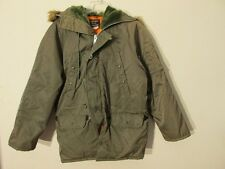 S7211 N3B Style 1970's Men's Small Faux Fur Trim Hood Full Zip Lined Coat