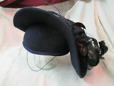 Vintage Ladies Hat Deborah NY Navy with Feathers
