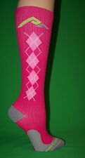 1pr Women's PC Performance Athletic Compression Running Socks Pink Argyle XS 5-8