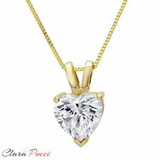 "0.50CT Simulated Heart Cut 14K Yellow GOLD SOLITAIRE PENDANT NECKLACE 16"" CHAIN"