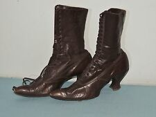Victorian High Top Lace Up Dark Brown Boots Apprx 7 to 7.5