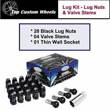 C1709BL-34 Wheel Install Lug Kit Black Lug Nuts M14x1.5 fit Dodge Charger 06-16
