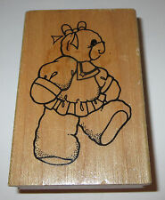 "Sailor Girl Rubber Stamp Teddy Bear Daisy Kingdom Dress Hair Bow 3.5"" Tall Toys"