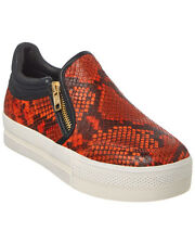 Ash Jordy Coral Red & Black Leather $198 Platform Sneakers Size 38 M NEW