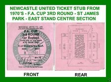 ORIGINAL 1970'S NEWCASTLE UNITED ST JAMES PARK TICKET STUB FOR FA CUP 3RD ROUND