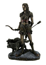 Skadi Norse Giantess Ski Goddess of Winter and Mountains with Wolves Statue
