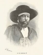 B7269 Re MENELIK II - Portrait - Ritratto - Incisione antica 1888 - Engraving