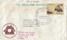 """AAT """"No Emus for Antarctic"""" cachet on Mildura museum cover & cachet 18c stamp"""