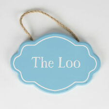 Sass & Belle Fancy Oval Blue Plaque THE LOO Wooden Hanging Sign Bath Room
