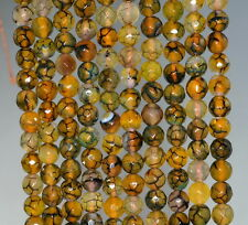 6MM FIREWORKS FIRE CRACKLE AGATE GEMSTONE YELLOW FACETED ROUND LOOSE BEADS 14.5""