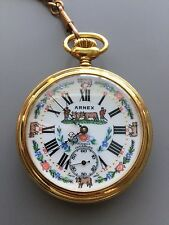 ANTIQUE/VINTAGE ARNEX 17J GOLD TONED INCABLOC POCKET WATCH - SUPERB CONDITION!