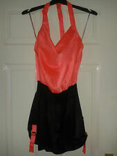Womens Strap Sleeveless Playsuit - Lipsy London - Black Neon Coral - Size 10