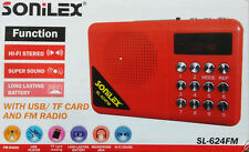 SONILEX SL624 Portable FM Transistor/Radio with USB/SD MP3 Player+Display