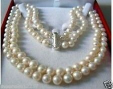 """8-9mm 2 Rows Genuine white freshwater PEARL NECKLACE 18"""""""