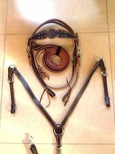 Western Set Of Brown Leather Buffalo Head stall,Rein Breast Collar Spur