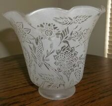 VINTAGE FROSTED ETCHED FLORALS GLASS LAMP SHADE ruffled rim