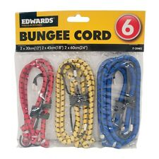 6 x New Bungee Straps Cords Set With Hooks Elasticated Rope Cord Various Size