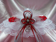 Sexy RED, WHITE & SILVER Lace GARTER Prom Wedding Special Occasion Bridal Dance