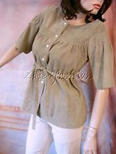 $3500 New MICHAEL KORS Olive Green Soft Suede Leather Empire Tunic Jacket 10