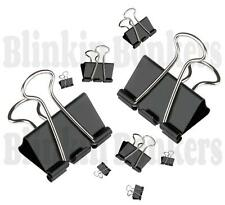 BLACK ASSORTED SIZES FOLDBACK FOLDING SPRING BULLDOG PAPER OFFICE CLIP HOLDER