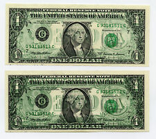 Rare! 2 Consecutive Serial Back to Front Wet Ink Transfer Error Notes - 1999 $1